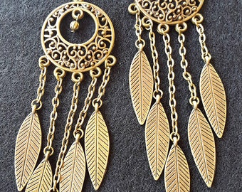 Antiqued Gold Feather Dangle Earrings