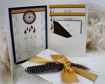 Dreamcatcher Wedding Invitation Suite | Tribal | Aztec | Pow Wow | Cherokee | Nature | Feather | Gold | Brown | Blue | Beautiful | Elegant