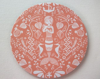 Mouse Pad mousepad / Mat - round - coral mermaid - desk office dorm cubical decor accessories - siren
