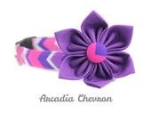 "Hot Pink and Purple Chevron Dog Collar, Small 3/4"" Width"