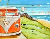 Volkswagen Van Bus Vw Beach ART PRINT or CANVAS classic vintage retro summer retirement vacation coastal poster wall home decor,All Sizes
