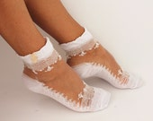 FREE SHIPPING Women Socks, Women's Shoe Accessories, Lace Socks, White Socks, Hosiery,