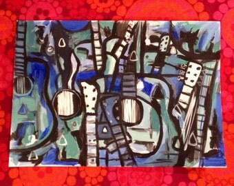Hand Painted Original Guitar Painting ink & acrylic on paper