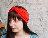Taylor Turban Headband - orange head band - wide headband - luxury womens headband - twist head wrap - hair wrap - viscose knit
