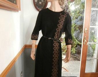 Womens  Dress- Black Virgin Wool Dress ~ Lady Mendel Knits of Distinction Dress Womens  Vintage Dress