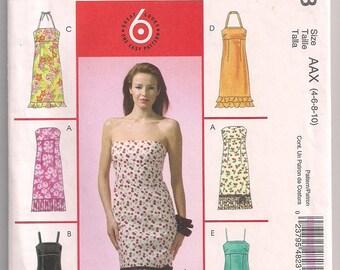 Halter Dress, Strapless Dress,  Hemline Flounce, Hemline Pleats, McCalls 4823, Dress Pattern, Misses Petite, 4 6 8 10 Uncut