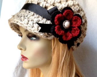 Crochet Woman Hat, Newsboy, Oatmeal, Very Soft Chunky Wool, Flower, Ribbon, Warm, Teens, Winter, Ski Hat, JE808NF8
