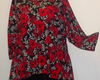 Lagenlook, Plus Size Tunic Top, Coco and Juan, Vintage Roses, Red, Print Rayon Knit ,Angled, Women's Tunic Top, One Size, Bust  to 60 inches