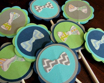 Bow Tie Party Cupcake Toppers, Bow Tie Baby Shower, Bow Tie Birthday Party, Little Man Party, Bow Tie Cupcake Toppers, Boy Shower, Set of 12