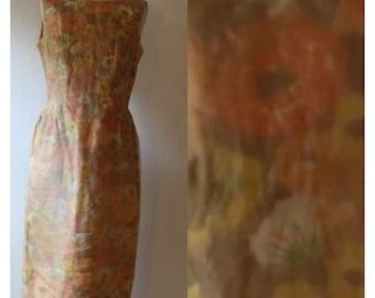 Vintage Tea Time Dress. 1960s Fall Color Chiffon Overlay Dress