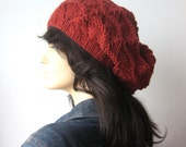 Hand Knit Hat, Redwood Heather Lace Slouchy Hat, The Beverly Hat, Vegan Knits, Womens Accessories, Fall Accessories, Redwood Knit Hat