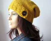 Mustard Yellow Hat, Wood Button Tab Beanie, Hand Knit Hat, Yellow Slouchy Hat, Fall Fashion, Yellow Slouch Beanie