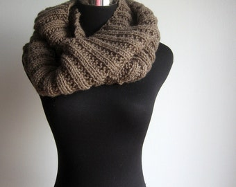 Cowl Scarf, Taupe Knit Infinity Scarf, Womens Accessories, Taupe Knit Circle Scarf, Knit Fall Fashion, Winter Accessories