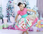 Girls Christmas Dress, Cheer and Laugh, sizes 6 months to 8 years, by SunLoveShirts