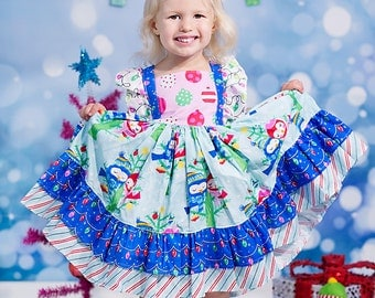 Blue Owls Holiday Dress for Girls, sizes 6 months to 8 years, by SunLoveShirts