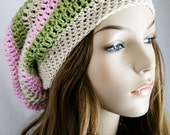 Slouchy Beanie Hat for Women Slouch Hat Womens Crochet Striped Unisex Hat Beret Hat or Tam Hat Skater boy Cap