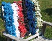 Unique Fashion Scarves / Infinity scarves in red, grey, white, green, and blues are handmade from Ohio