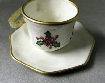 Ceramic  Ornament - Tea Cup -  Cup of Christmas Tea