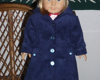 1930s 1940s 2 Pc Outerwear Corduroy Coat Beret for American Girl Molly Emily Kit Ruthie 18 inch doll