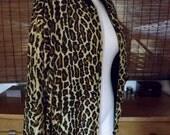 Vintage 90s Leopard Print Silk Bomber Jacket M-L Free Shipping