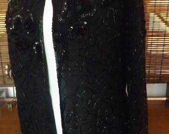 Vintage 90s Beaded and Sequin Silk Blazer S-M