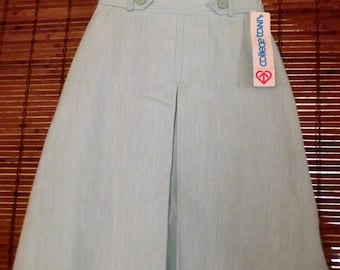 Vintage 80s Deadstock Mint Green Kick Pleat A line Skirt S Fee shipping