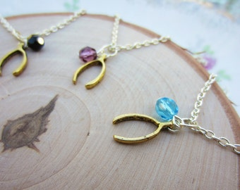 Friendship necklace with small wishbone. Czech glass birthstone beads. Dainty charm necklaces, set of two. Best friend gift.