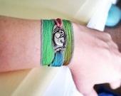 Lucky Elephant Bracelet, Sterling Silver Elephant, Silk Wrap Bracelet, Boho Chic, Eco-Friendly, Inspirational Jewelry