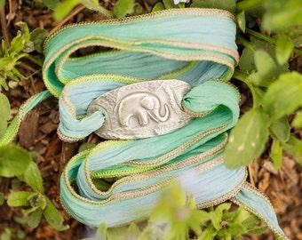 Lucky Elephant Bracelet, Silk Wrap Bracelet, Good Luck Jewelry, Good Luck Elephant, Eco-Friendly, Inspirational Jewelry Gift for Her
