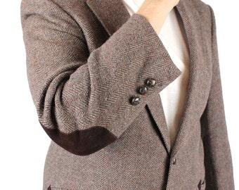 Vintage Elbow Patch Blazer 42S 40S Wool Herringbone Tweed Mauve Gray Jacket Free US Shipping