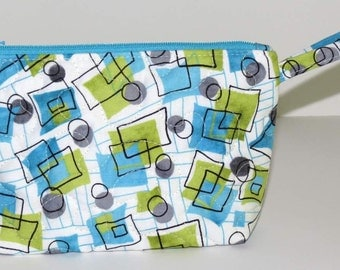 Quilted Makeup Bag, Wristlet, Clutch, Turquoise Lime Grey Geometric