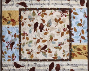 Reversible Table Topper, Quilted Centerpiece, Table Mat, Birds and Music
