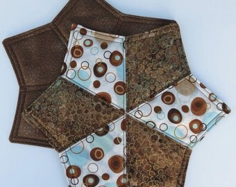 Two Mug Rugs, Snack Placemats, Coasters, Brown and Turquoise Blue