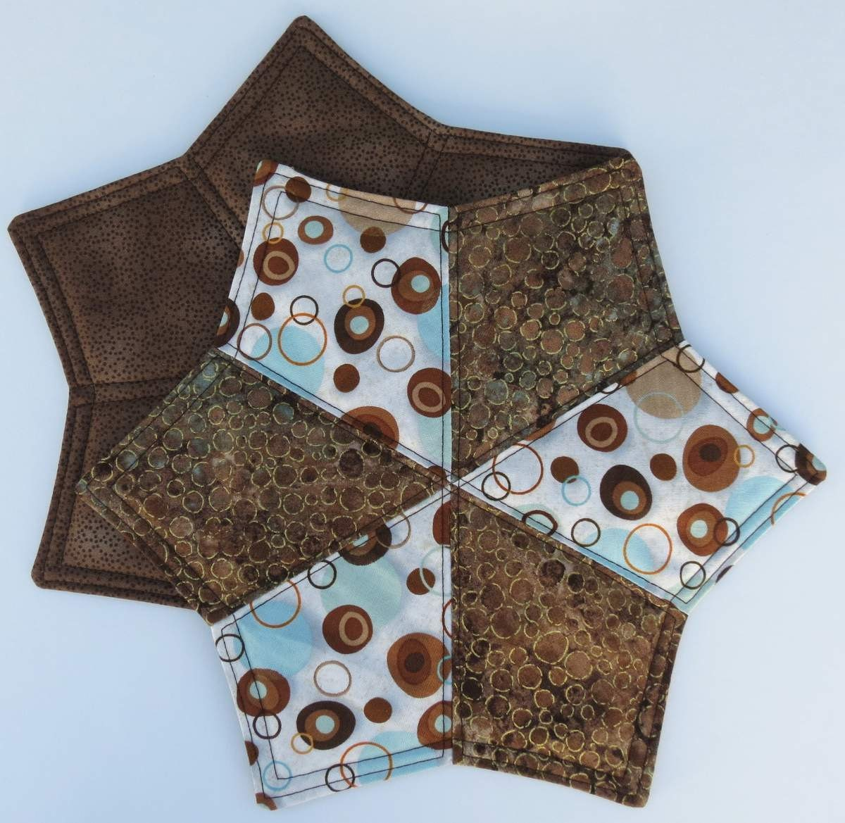 Two Mug Rugs Snack Placemats Coasters Brown And Turquoise