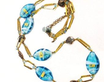 Aqua Foil Glass Bead Necklace, Aqua and Gold Murano Glass Necklace
