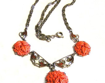 Czech Coral Glass and Enamel Art Deco Necklace