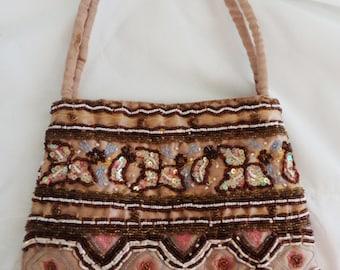 vintage beaded bag, 90s beaded bag, indian beaded bag, fringed bag, 20s costume, 20s look purse, 20s handbag, TLC