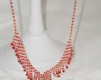 necklace earrings set, red rhinestone jewelry, red dangle earrings, drag queen, kitsch jewelry, red diamante necklace, red earrings