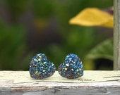Rainbow Glitter Heart Stud Earrings, Choose Titanium or Stainless Steel, 12mm