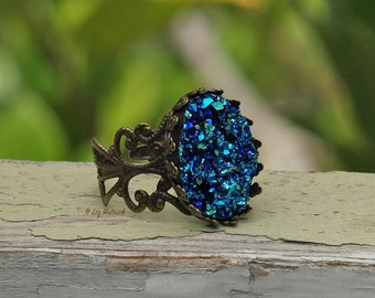Blue Green Faux Druzy Adjustable Ring, Glitter Resin Drusy Ring