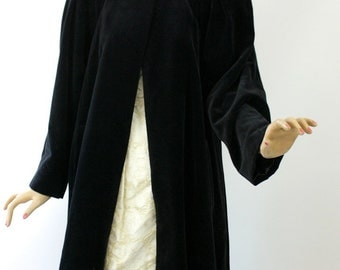 Vintage 80s Cattiva Opera Coat Black Velveteen Evening Swing Coat Deco Rhinestone Button