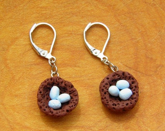 Earrings, ROBIN'S EGG NEST Clay with leverback closure