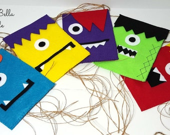 Adopt a monster party supplies Monster banner theme Little Monster Party Felt banner monsters supplies Hallowen Bunting Banner monster
