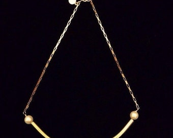 ARC gold plated tube necklace with pearls on gold link chain