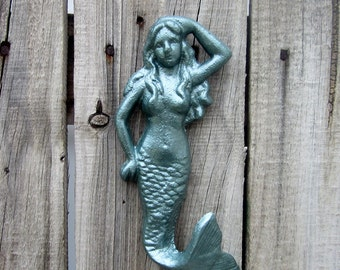 Mermaid Hook, Wall Hook, Cast Iron Hook, Metallic, Green Patina, Beach, Sea Creature, Nautical, Coat Hook, Bath Hook, Entryway Hook
