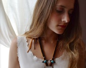 Raterennotha' Turquoise and Deer Hide Statement Necklace