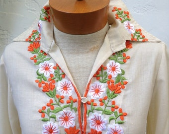 70's Bohemian EMBROIDERED Blouse with Pointy Collars/  Boho Festival Bliss / Small