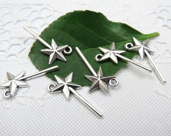 6 MAGIC WAND Charms in Antique Silver, US Seller
