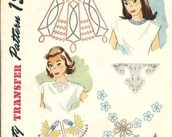 1940s UNCUT Simplicity  Transfer Pattern 7359 - Assorted Embroidery Sequins Motifs for Neckline  Trims - FACTORY FOLDED