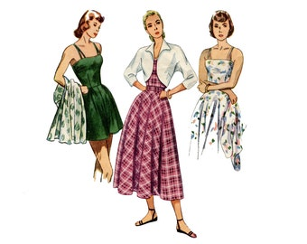 1940s Playsuit, Bolero and Skirt Pattern Flared Shorts Wing Collar Bolero Circle Skirt Simplicity 2425 Bust 34 Vintage Sewing Pattern